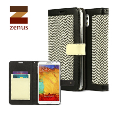 Zenus Herringbone Diary Case for Samsung Galaxy Note 3 - Black