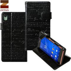 Zenus Lettering Diary Sony Xperia Z3 Case - Black
