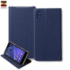 Zenus Sony Xperia Z2 Metallic Diary Stand Case - Navy