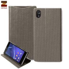 Zenus Sony Xperia Z2 Metallic Diary Stand Case - Silver