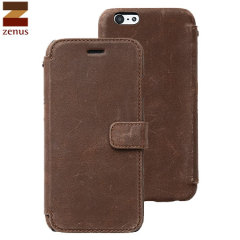 Zenus Vintage Diary iPhone 6 Genuine Leather Case - Dark Brown