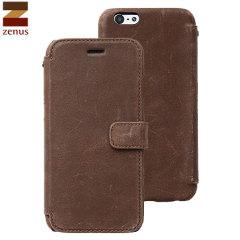 Zenus Vintage Diary iPhone 6S / 6 Genuine Leather Case - Dark Brown