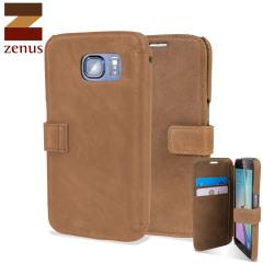 Zenus Vintage Diary Samsung Galaxy S6 Wallet Case - Vintage Brown