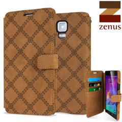 Zenus Vintage Quilt Diary Samsung Note 4 Case - Brown