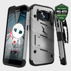 Zizo Bolt Series Samsung Galaxy S7 Edge Tough Case & Belt Clip - Steel