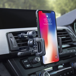 Keep your phone close at hand and mounted safely in view while driving with the Olixar inVent Universal Phone Air Vent Holder. Featuring a 360 degree rotation ball joint which holds phones between 55mm and 80mm in width