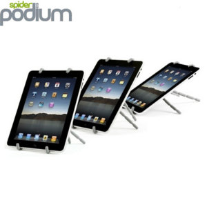 Spider Podium can be utilised as an accessory to virtually any tablet device available. Spider Podium is very lightweight and compact making it particularly portable.