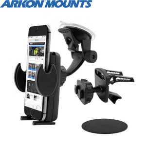 One of the most versatile car holder kits on the market, Arkon's mega grip deluxe provides a strong grip for almost all phones on either the windscreen, vents or dashboard.