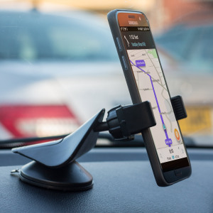 Hold your mobile device safely and comfortably in the car with this universal car holder from GripMount.