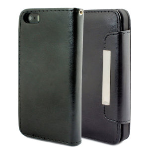 Keep your iPhone 5S / 5 protected in this stylish, black, leather style wallet case.