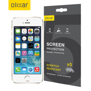 Keep your iPhone 5S / 5 screen in pristine condition with this 5 pack of Olixar scratch resistant screen protectors.