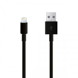 This black Lightning to USB 2.0 cable connects your iPhone or iPad to a laptop, computer and USB chargers for efficient syncing and charging.