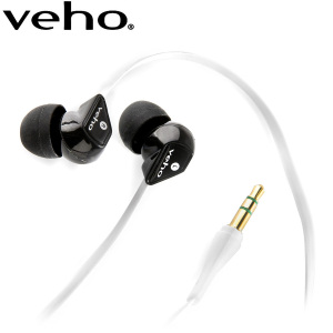Veho 360 Noise Isolating Earphones with Flat Flex Cord - White