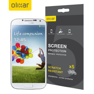 Keep your Samsung Galaxy S4 screen in pristine condition with this Olixar scratch-resistant screen protector 5-in-1 Pack.