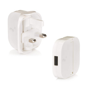 MU classic in white is an award-winning folding plug design. A higher powered 1A folding USB mains charging adapter with 1 USB port, which reduces to 70% its size for pocket-sized portability. Charge your smartphones and other USB powered devices.