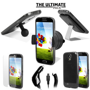 The ultimate Samsung Galaxy S4 i9500 accessory pack contains must have items for your S4 including an S4 FlexiShield case, car holder, car charger, screen protectors, and two desk stands.