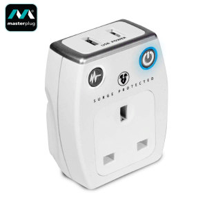 Simultaneously charge two mobile devices as well as using your existing power socket with this pass through-enabled USB mains charger by Masterplug in white with built-in surge protection.