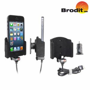 Ładuj i używaj swojego iPhonea 5 w swoim samochodzie wraz z aktywnym uchwytem samochodowym z obrotowym przegubem od firmy Brodit.