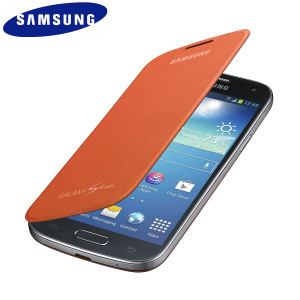 Official Samsung Galaxy S4 Mini Flip Case Cover - Orange