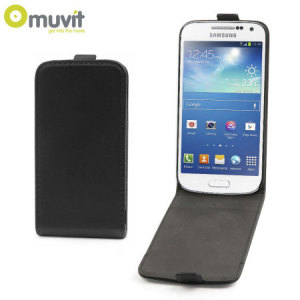 Keep your S4 Mini safe from harm with this slim and stylish black leather style flip case by Muvit.