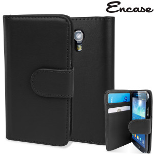 Keep your S4 Mini protected in this stylish black leather style wallet case with integrated card holder pockets.