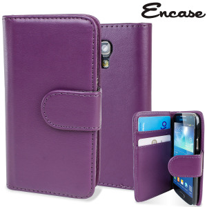 Keep your S4 Mini protected in this stylish purple leather style wallet case with integrated card holder pockets.