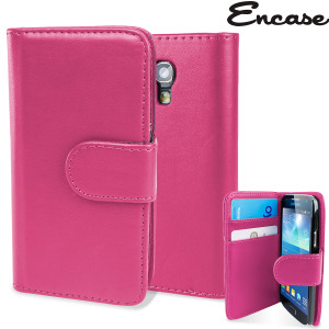 Keep your S4 Mini protected in this stylish pink leather style wallet case with integrated card holder pockets.
