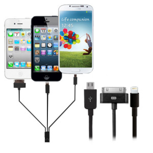 4-in-1 Charge and Sync (Apple devices, Galaxy Tab, Micro USB) - Black