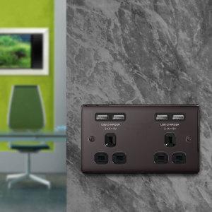 4 Port USB Double UK Plug Socket - Black Nickel