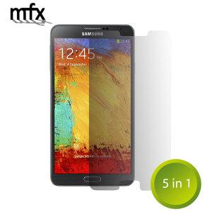 Håll skärmen på din Samsung Galaxy Note 3 i ett utmärkt skydd med det reptåliga skärmskyddet MFX som kommer i ett 5-pack.