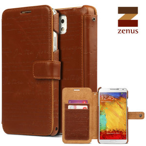 This brown leather style Zenus Masstige Diary Case for the Samsung Galaxy Note 3 features a unique embossed lettering design and internal storage pockets.
