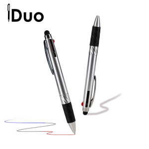 Combining an omnidirectional stylus tip compatible with 'all capacitive touchscreens' and a multi-coloured ballpoint pen, this is the iDuo Multi-Ink Stylus Pen.