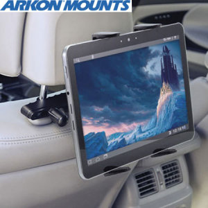 "This innovative universal tablet holder is adjustable to fit 7"" to 12"" tablets in order to watch movies or play games while sitting comfortably in the back seat."