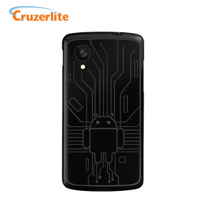 Keep your LG Google Nexus 5 protected from damage with this Android-circuitry inspired, durable black coloured TPU case by Cruzerlite.
