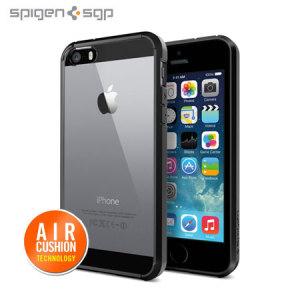 Skydda din iPhone 5S / 5 med den unika, svarta bumpern med luftvadderade hörn från Spigen SGP.