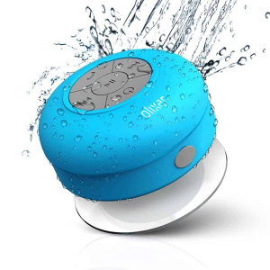 Enjoy listening to music while in the shower with the AquaFonik Bluetooth Shower Speaker in blue. With music playback controls and built-in microphone for those important phone calls that just can't wait.