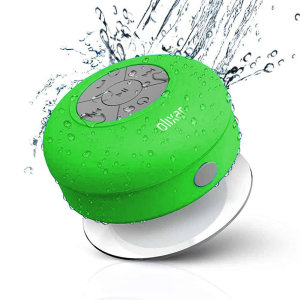 Enjoy listening to music while in the shower or bath with the Olixar AquaFonik Bluetooth Water-Resistant Speaker in green. With music playback controls and built-in microphone for those important phone calls that just can't wait.