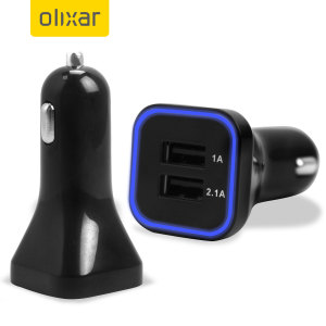 Keep your tablet and phone charged at the same time while travelling with the Olixar dual USB car charger in black, with 2.1A and 1A ports.