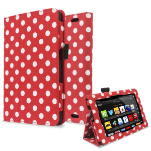 Protect and stand your Kindle Fire HD 2013 with this red and white polka dot Stand and Type Case, suitable for viewing movies and typing.