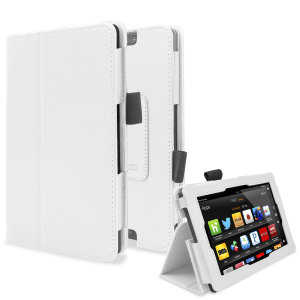 Protect and stand your Kindle Fire HD 2013 with this white Stand and Type Case, suitable for viewing movies and typing.