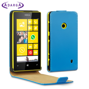 Protect your Nokia Lumia 525 / 520 smartphone with this stylish and protective neon blue leather style flip case by Adarga.