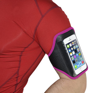 Carry your smartphone securely while you're exercising using the Universal Armband for Medium Sized Smartphones in pink. This comfortable armband is adjustable and made out of a lightweight and breathable material.