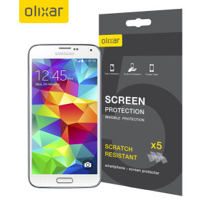 Keep your Samsung Galaxy S5 screen in pristine condition with this Olixar scratch-resistant screen protector 5-in-1 pack. Ultra responsive and easy to apply, these screen protectors are the ideal way to keep your display looking brand new.