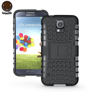 Protect your Samsung Galaxy S5 with this black ArmourDillo Case, comprised of an inner TPU case and an outer impact resistant exoskeleton.
