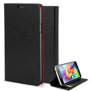 Bescherm je Samsung Galaxy S5 in een elegante en stijlvolle leren stijl wallet case. De case is niet alleen een portemonnee maar bezit over een kijkstandaard.