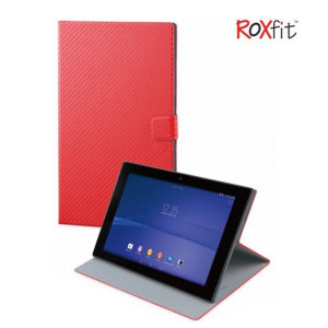 This officially licensed book flip case by Roxfit houses the Sony Xperia Z2 within a form fitting hard case and encloses it in a rubber inner lining and a red carbon fibre style cover.