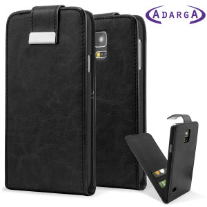 Keep your Samsung Galaxy S5 protected and looking fantastic with this Adarga executive black premium faux leather wallet flip case, complete with two credit card slots.