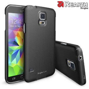Provide your Samsung Galaxy S5 with ultra-thin, tough snap-on protection with this Ringke Slim Dot SF black polycarbonate case.