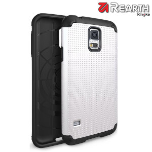 Provide your Samsung Galaxy S5 with slim yet heavy duty protection with this white Ringke dual-layered armour case. The dot design preserves the aesthetic and feel of the S5.