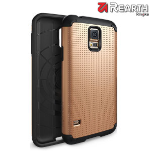 Provide your Samsung Galaxy S5 with slim yet heavy duty protection with this gold Ringke dual-layered armour case. The dot design preserves the aesthetic and feel of the S5.